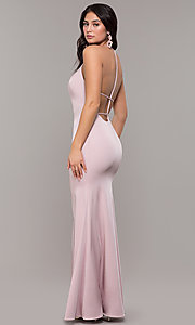Image of long strappy-open-back illusion-v-neck prom dress. Style: ZG-PL-32819 Front Image
