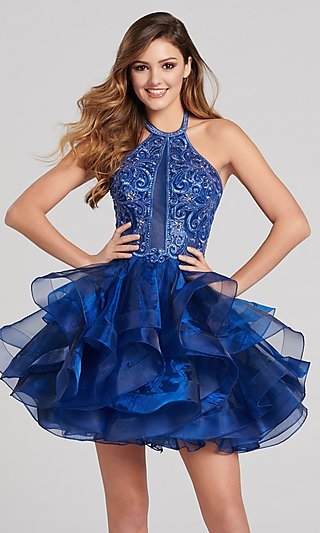 Short Babydoll Homecoming Dress with a Sheer Bodice