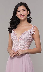 Image of long chiffon sheer-side prom dress by PromGirl. Style: ZG-PL-32831 Detail Image 1