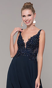 Image of long chiffon sheer-side prom dress by PromGirl. Style: ZG-PL-32831 Detail Image 6