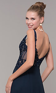 Image of long chiffon sheer-side prom dress by PromGirl. Style: ZG-PL-32831 Detail Image 7