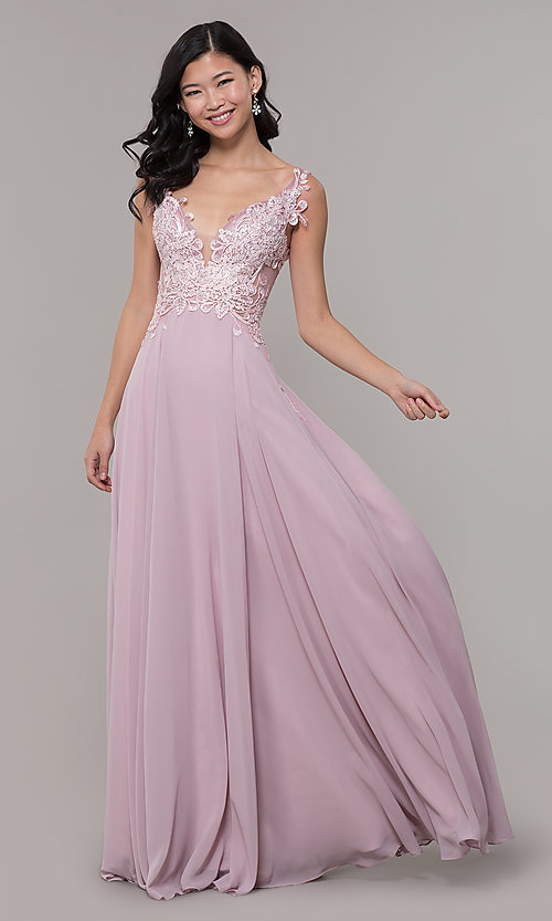 Image of long chiffon sheer-side prom dress by PromGirl. Style: ZG-PL-32831 Front Image