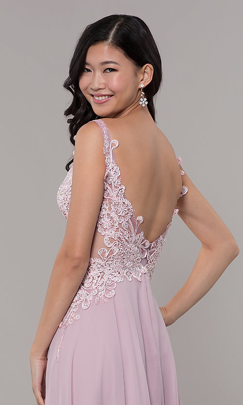 Image of long chiffon sheer-side prom dress by PromGirl. Style: ZG-PL-32831 Detail Image 2