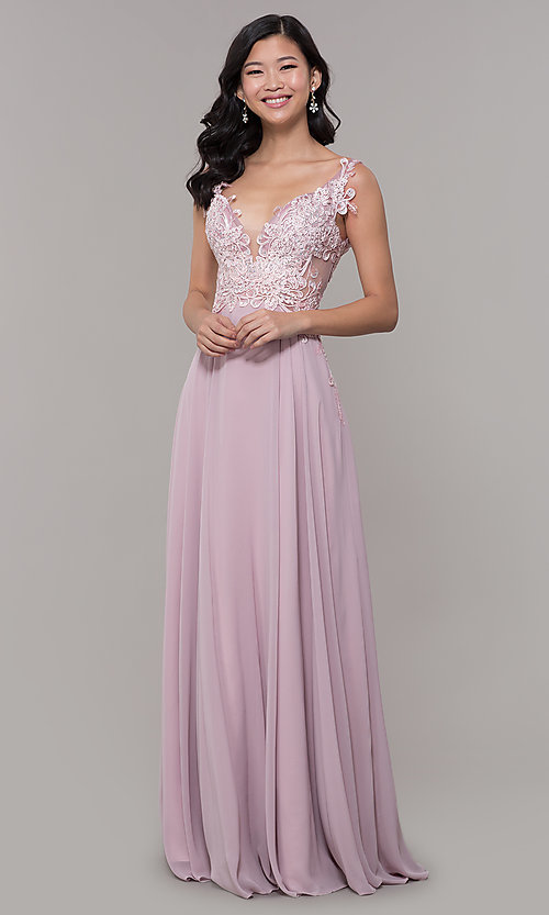 Image of long chiffon sheer-side prom dress by PromGirl. Style: ZG-PL-32831 Detail Image 3