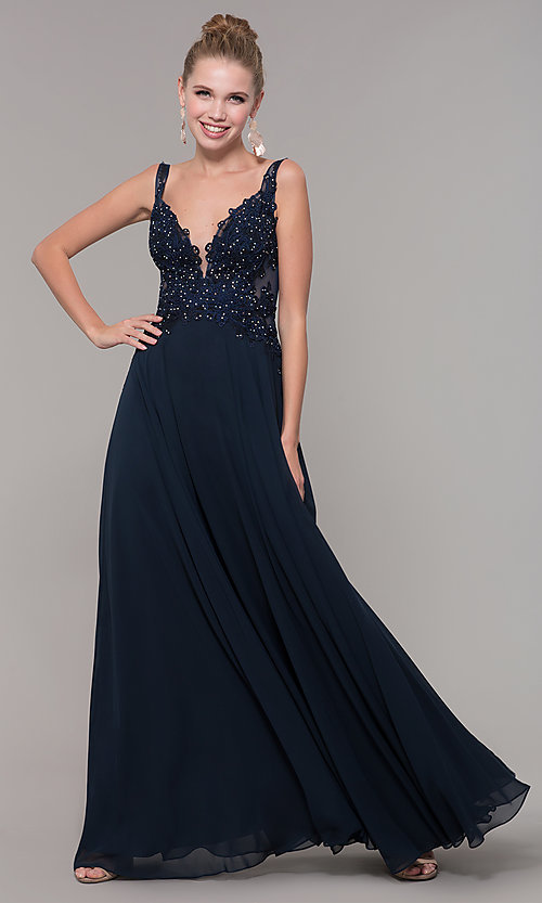 Image of long chiffon sheer-side prom dress by PromGirl. Style: ZG-PL-32831 Detail Image 4