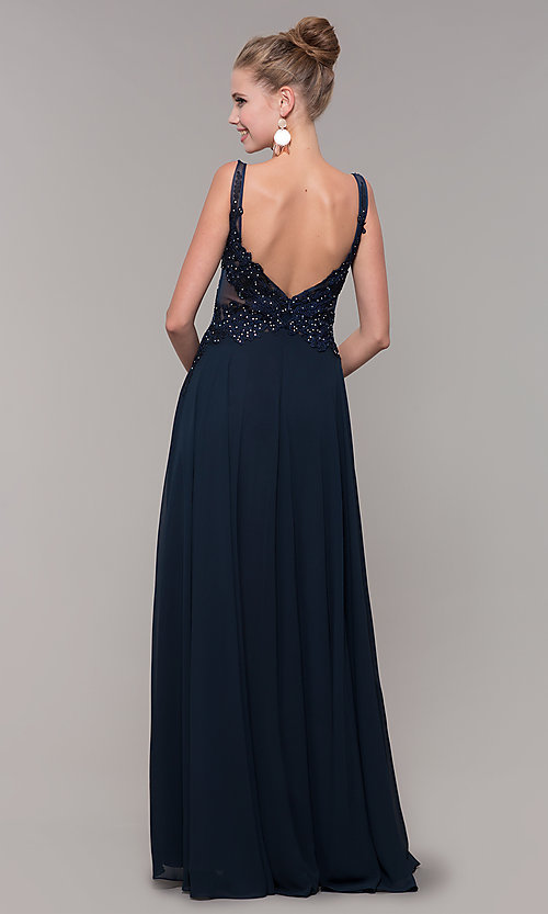Image of long chiffon sheer-side prom dress by PromGirl. Style: ZG-PL-32831 Detail Image 5