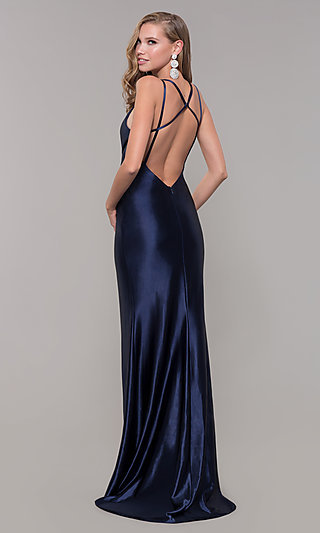 fa41e37411 Long Satin V-Neck Side-Slit Prom Dress