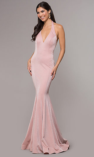 0479fba2104 Long Glitter Knit V-Neck Halter Mermaid Prom Dress