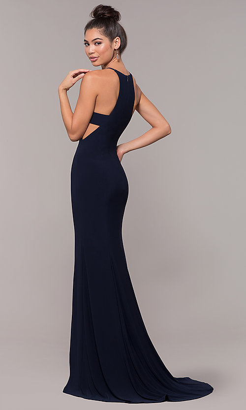 b1db13be451 Image of high-neck long sleeveless prom dress. Style  ZG-PL-