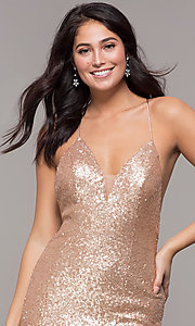 Image long open-back mermaid-style sequin prom dress. Style: ZG-PL-32871 Detail Image 6
