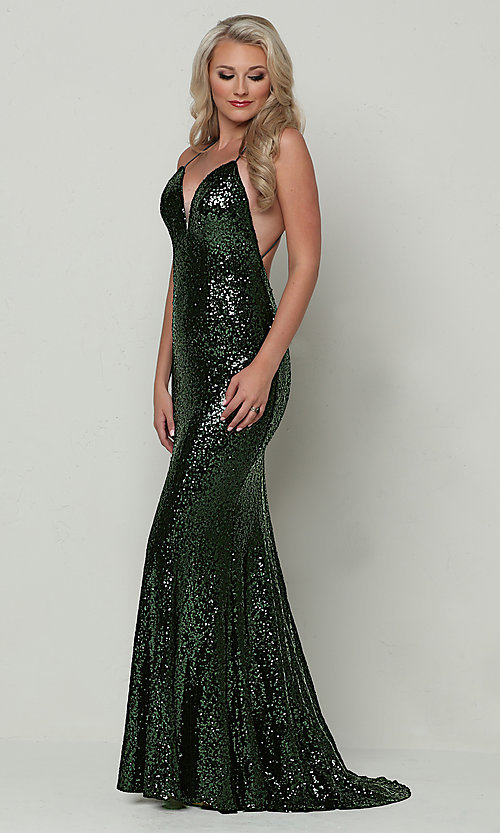 Image long open-back mermaid-style sequin prom dress. Style: ZG-PL-32871 Detail Image 7