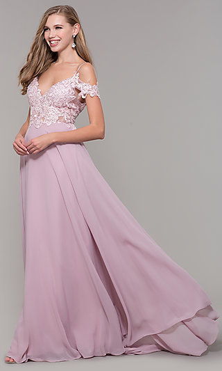 Long Cold-Shoulder Prom Dress with Embroidered Bodice