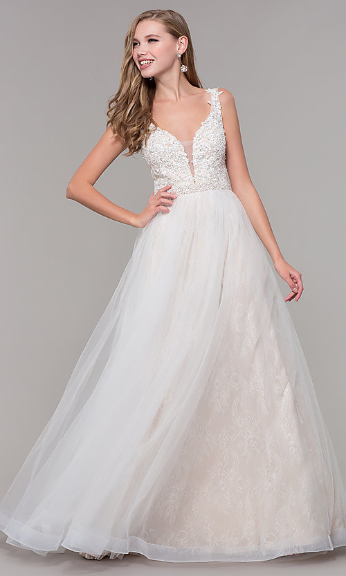 46fe7f5566 Image of long embroidered-bodice ball-gown-style prom dress. Style: