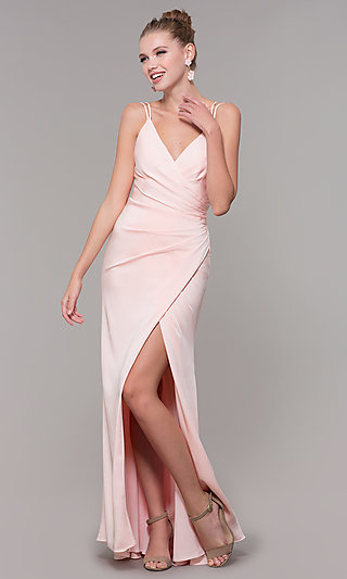 V-Neck Long Ruched Prom Dress with Slit