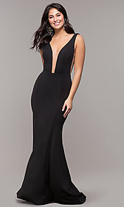 Image of long illusion-v-neck prom dress with open back. Style: ZG-PL-32894 Detail Image 7