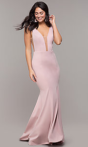 Image of long illusion-v-neck prom dress with open back. Style: ZG-PL-32894 Detail Image 3