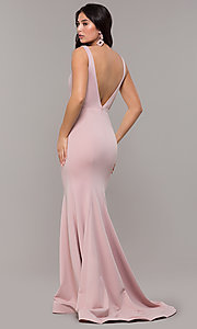 Image of long illusion-v-neck prom dress with open back. Style: ZG-PL-32894 Detail Image 4