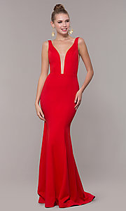Image of long illusion-v-neck prom dress with open back. Style: ZG-PL-32894 Front Image