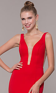 Image of long illusion-v-neck prom dress with open back. Style: ZG-PL-32894 Detail Image 1