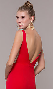 Image of long illusion-v-neck prom dress with open back. Style: ZG-PL-32894 Detail Image 2
