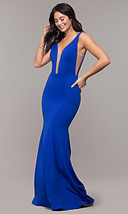 Image of long illusion-v-neck prom dress with open back. Style: ZG-PL-32894 Detail Image 5