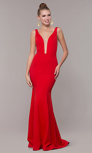 Long Illusion-V-Neck Prom Dress with Open Back