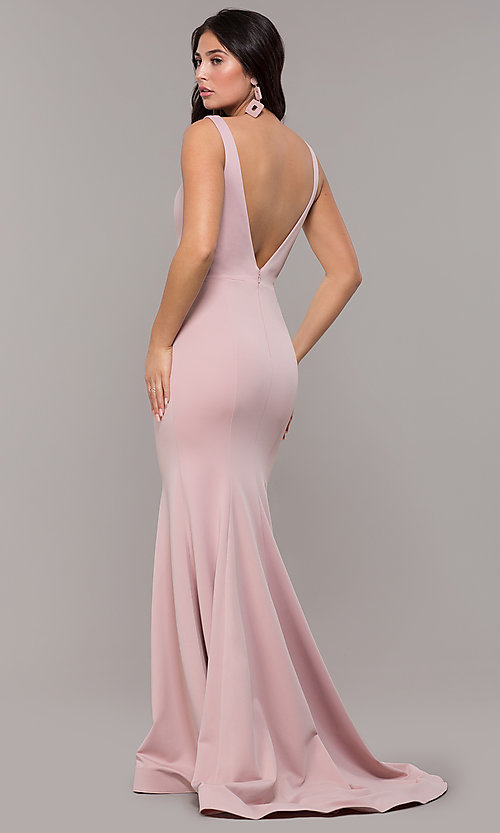 65d65b61e8 Image of long illusion-v-neck prom dress with open back. Style