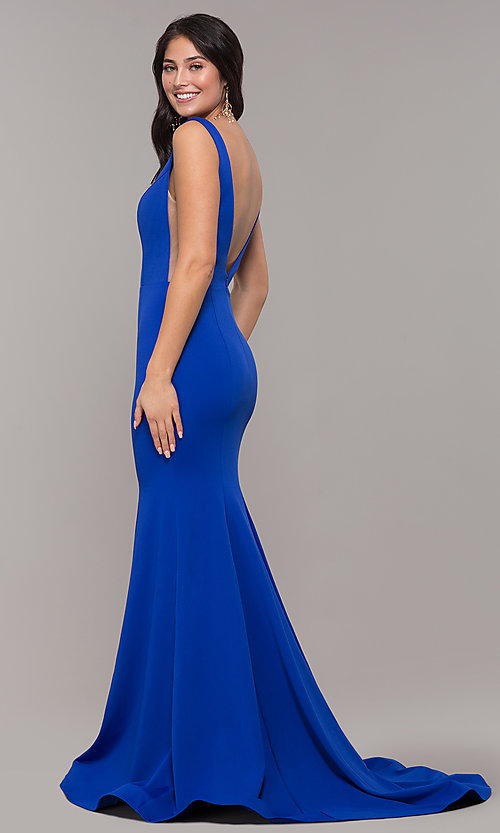 Image of long illusion-v-neck prom dress with open back. Style: ZG-PL-32894 Detail Image 6