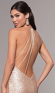Image of long sequin cowl-neck prom dress by PromGirl. Style: ZG-PL-32895 Detail Image 2