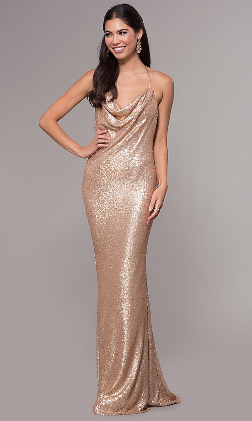 Image of long sequin cowl-neck prom dress by PromGirl. Style: ZG-PL-32895 Back Image