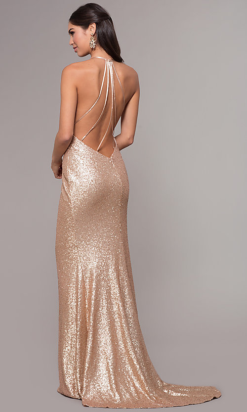 Image of long sequin cowl-neck prom dress by PromGirl. Style: ZG-PL-32895 Front Image