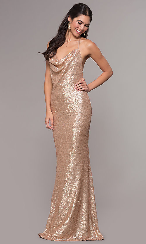 Image of long sequin cowl-neck prom dress by PromGirl. Style: ZG-PL-32895 Detail Image 3
