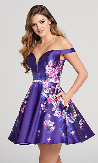 Short Off-the-Shoulder Print Homecoming Dress