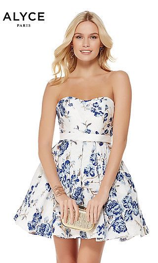 White and Blue Short Floral-Print Homecoming Dress