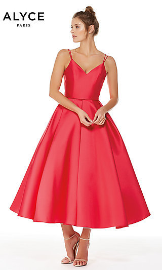 Alyce Tea-Length Homecoming Dress with V-Neck