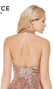 Image of rose gold short sequin homecoming party dress. Style: AL-4056 Detail Image 2