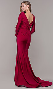 Image of long-sleeve v-neck prom dress with train. Style: CD-MA-M257 Detail Image 7