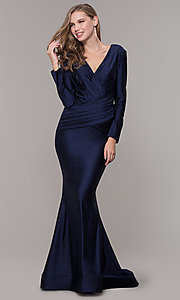 Image of long-sleeve v-neck prom dress with train. Style: CD-MA-M257 Front Image