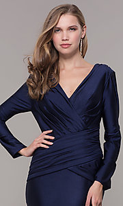 Image of long-sleeve v-neck prom dress with train. Style: CD-MA-M257 Detail Image 1