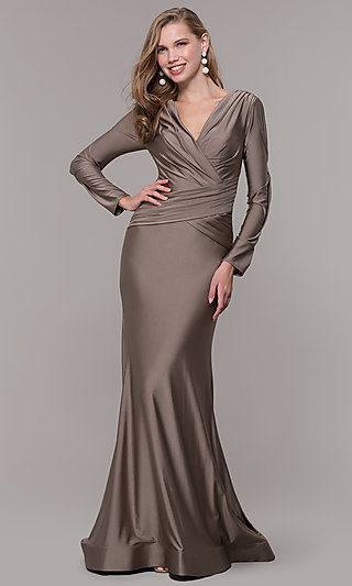 Long-Sleeve V-Neck Prom Dress with Train