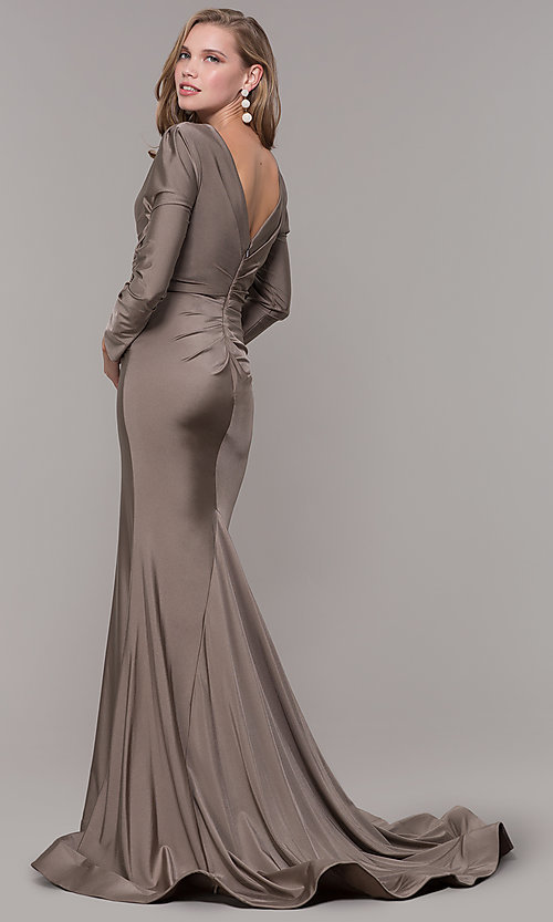 Image of long-sleeve v-neck prom dress with train. Style: CD-MA-M257 Detail Image 4