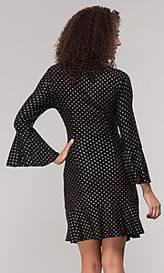 Image of black short holiday dress with gold polka dots. Style: ECI-720023-8362A Back Image