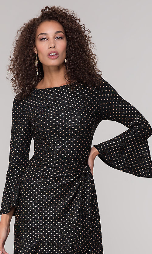 Image of black short holiday dress with gold polka dots. Style: ECI-720023-8362A Detail Image 1