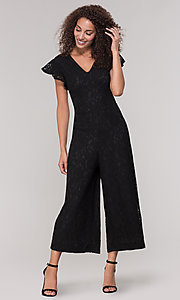 Image of v-neck black lace party jumpsuit with short sleeves. Style: ECI-720280-8268 Front Image