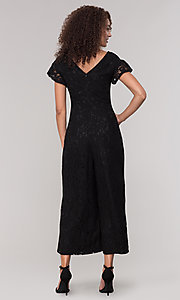 Image of v-neck black lace party jumpsuit with short sleeves. Style: ECI-720280-8268 Back Image