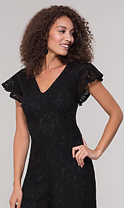 Image of v-neck black lace party jumpsuit with short sleeves. Style: ECI-720280-8268 Detail Image 1