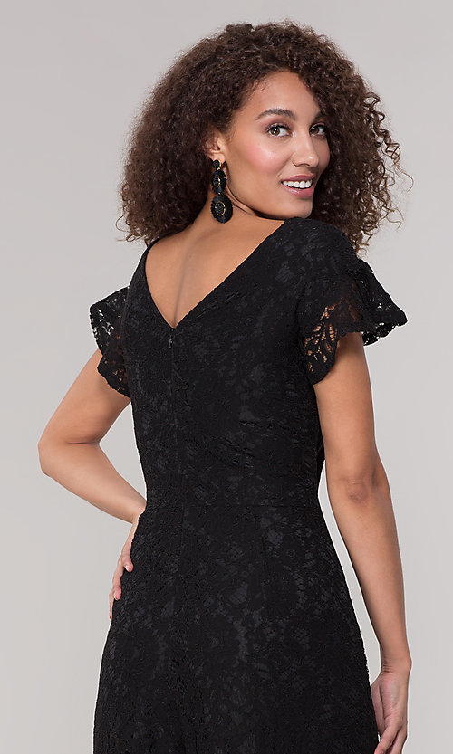 Image of v-neck black lace party jumpsuit with short sleeves. Style: ECI-720280-8268 Detail Image 2