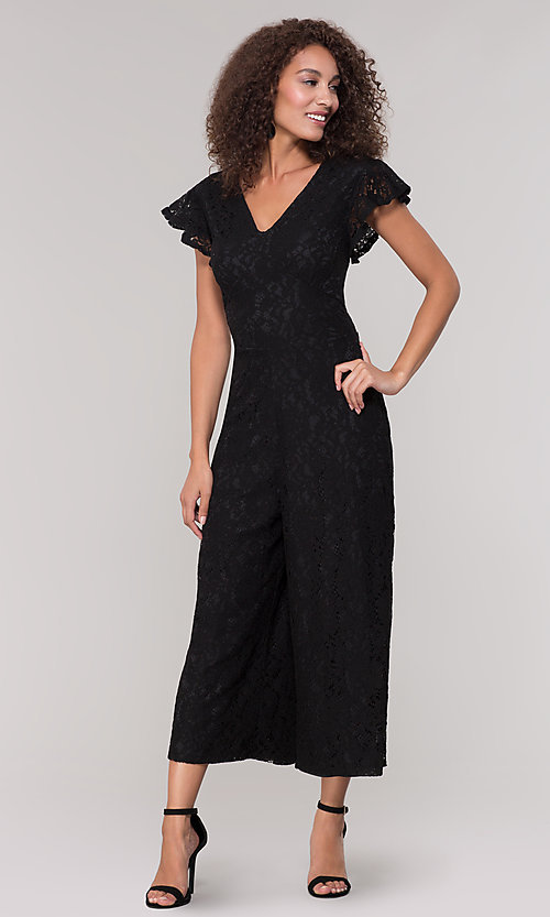 Image of v-neck black lace party jumpsuit with short sleeves. Style: ECI-720280-8268 Detail Image 3