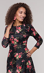 Image of floral-print short party dress with sleeves. Style: ECI-718776-8302 Detail Image 1