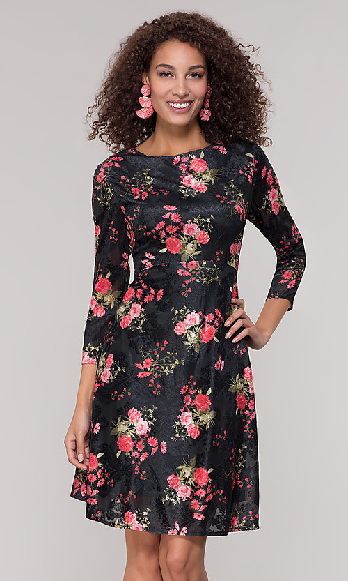 Image of floral-print short party dress with sleeves. Style: ECI-718776-8302 Front Image